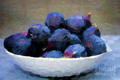 Raspberry Mixed Media - Bowl Of Figs by Garland Johnson