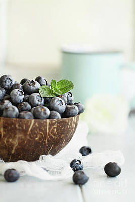 Photograph - Bowl Of Fresh Blueberries by Stephanie Frey
