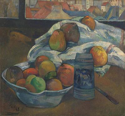 Tankard Digital Art - Bowl Of Fruit And Tankard Before A Window by Paul Gauguin