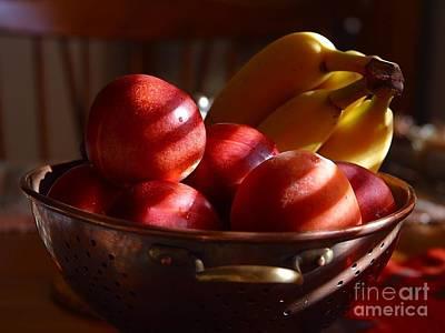 Photograph - Bowl Of Fruit Bananas Peaches by R Muirhead Art