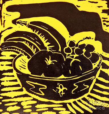 Lino Relief - Bowl Of Fruit Black On Yellow by Caroline Street