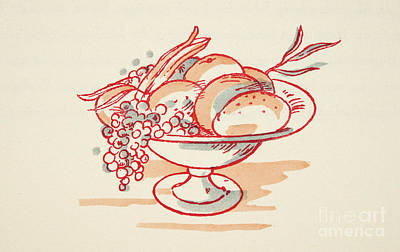 Grapes Drawing - Bowl Of Fruit by German School