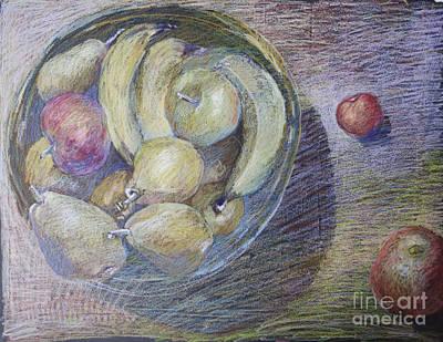 Bowl Of Fruit Still Life Drawing  Original by Elizabetha Fox