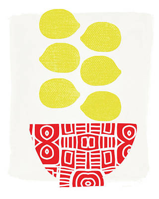Bowl Of Lemons- Art By Linda Woods Print by Linda Woods