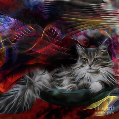 Digital Art - Bowl Of More Fur - Square Version by John Beck