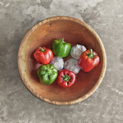 Photograph - Bowl Of Peppers And Garlic by David and Carol Kelly