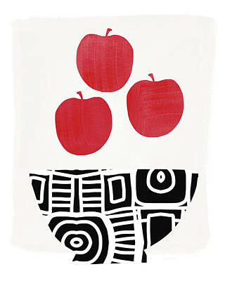 Bowl Of Red Apples- Art By Linda Woods Art Print by Linda Woods