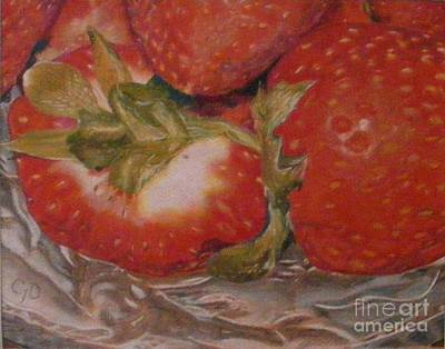 Strawberries Drawing - Bowl Of Strawberries by Crispin  Delgado