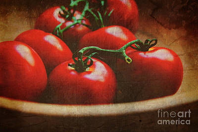 Bowl Of Tomatoes Art Print by Toni Hopper