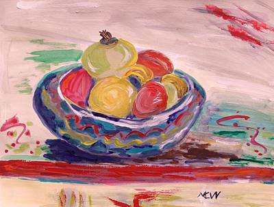 Primitive Raw Art Painting - Bowl On A Red Edge by Mary Carol Williams