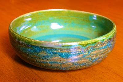 Ceramic Art - Bowl With Green Variegated Glaze by Polly Castor