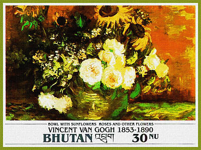 Vincent Price Painting - Bowl With Sunflowers Roses And Other Flowers by Lanjee Chee