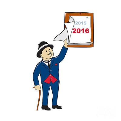 Old Man Digital Art - Bowler Hat Man Peeling 2016 Calendar by Aloysius Patrimonio