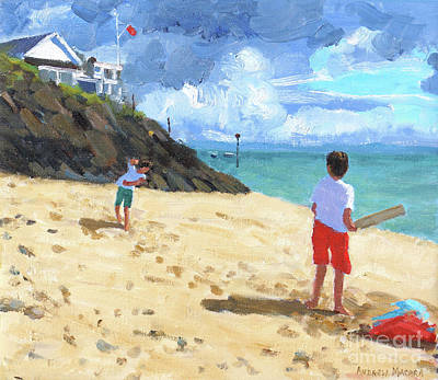 Children On The Beach Painting - Bowling And Batting, Abersoch by Andrew Macara