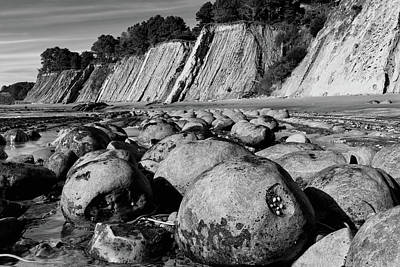 Photograph - Bowling Ball Beach In Black And White by Kathleen Bishop