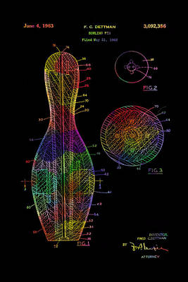 Drawing - Bowling Pin Vintage Colorful Patent From 1963 by Eti Reid