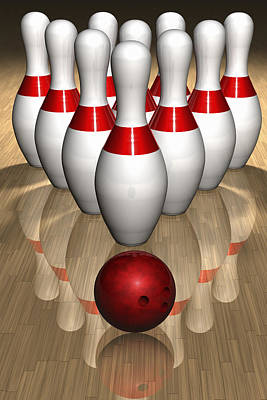 Large Group Of Objects Digital Art - Bowling Pins And Ball by Jose Luis Stephens