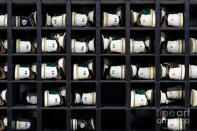 Bowling Rental Shoes In A Shoe Rack Art Print by Paul Velgos