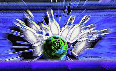 Bowling Sign - Strike Art Print by Steve Ohlsen