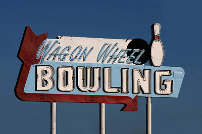 Bowling Alley Photograph - Bowling Sign by Art Block Collections