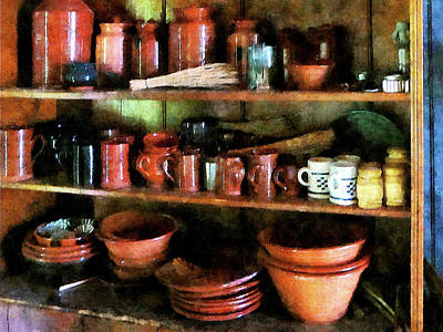 Photograph - Bowls And Cups In Pantry by Susan Savad