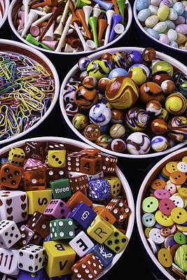 Photograph - Bowls Full Of Marbles And Dice by Garry Gay