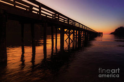 Photograph - Bowman Bay Dock Sunset by Sonya Lang