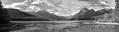 Photograph - Bowman Lake Black And White Panorama by Adam Jewell