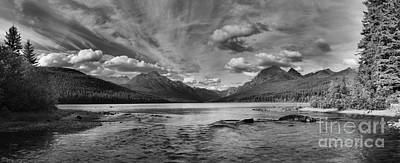 Photograph - Bowman Lake Black And White Panoramic by Adam Jewell
