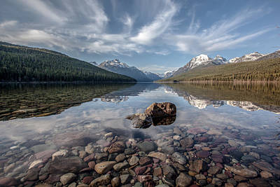 Bowman Lake Rocks Art Print