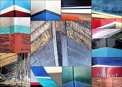 Photograph - Bows Of Boats Collage  by Janice Drew
