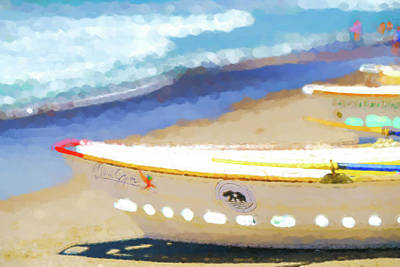 Row Boat Digital Art - Bows Out   Lifeboat Watercolor by Scott Campbell