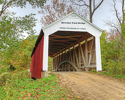 Photograph - Bowser Ford Covered Bridge by Harold Rau