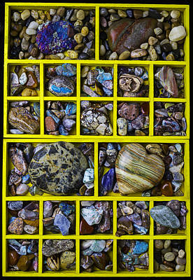 Shadow Box Photograph - Box Compartments With Stones by Garry Gay