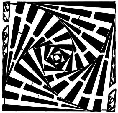 Twisting Boxed Drawing - Box In A Box Maze by Yonatan Frimer Maze Artist