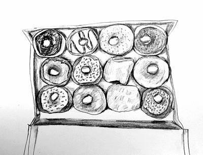 Donuts Drawing - Box Of Donuts by Hae Kim