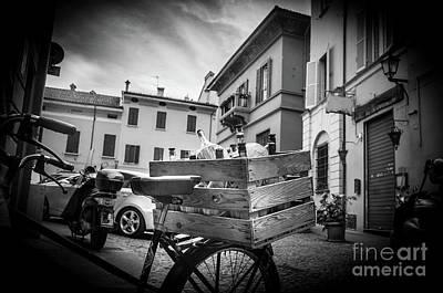 Box Of Wine Black And White Bologna Italy Damigiane Art Print by Luca Lorenzelli