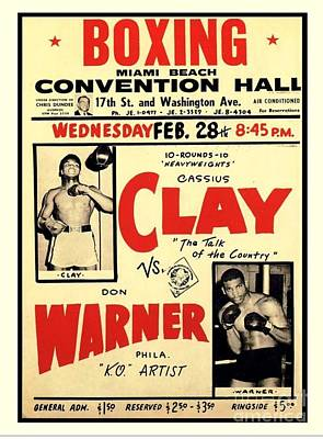 Painting - Boxing Poster  Clay Vs Warner by Reproduction