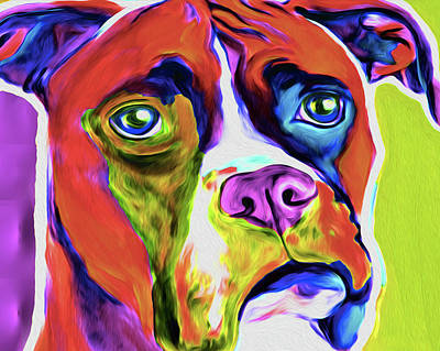 Boxer Abstract Art Painting - Boxer 5a By Nixo by Nicholas Nixo