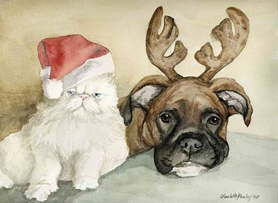 Boxer And Persian Cat Christmas Print by Charlotte Yealey
