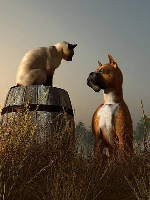 Cats And Dogs Digital Art - Boxer And Siamese by Daniel Eskridge