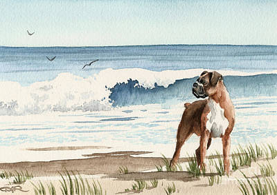 Boxer At The Beach Art Print by David Rogers