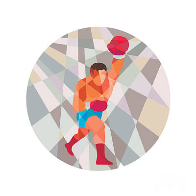 Boxer Boxing Punching Circle Low Polygon Art Print