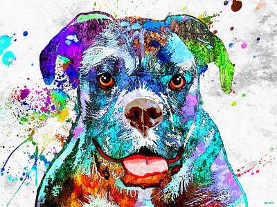 Watercolor Pet Portraits Mixed Media - Boxer Colorful Grunge by Daniel Janda