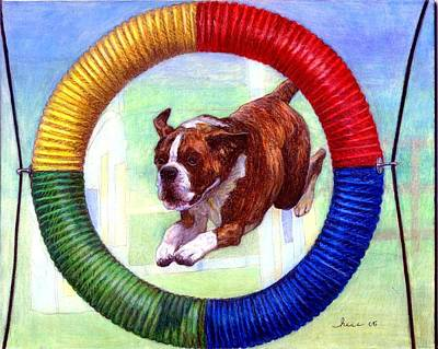 Boxer Dog Agility Class Art Print by Olde Time  Mercantile
