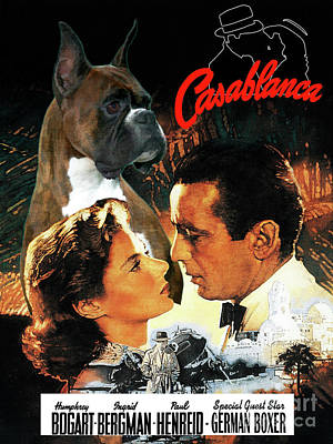 Painting - Boxer Dog Art Canvas Print - Casablanca Movie Poster by Sandra Sij