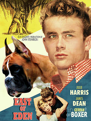 Painting - Boxer Dog Art Canvas Print - East Of Eden Movie Poster by Sandra Sij