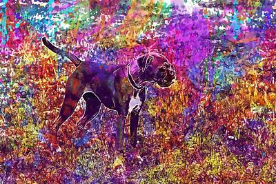 Cute Boxer Digital Art - Boxer Dog Boxer Dog Cute Young  by PixBreak Art
