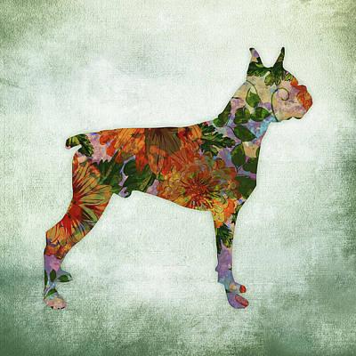 Watercolor Pet Portraits Digital Art - Boxer Dog Floral On Green by Flo Karp