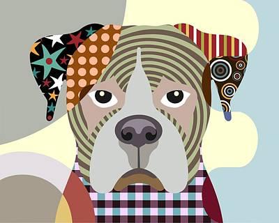 Purebred Digital Art - Boxer Dog  by Lanre Studio